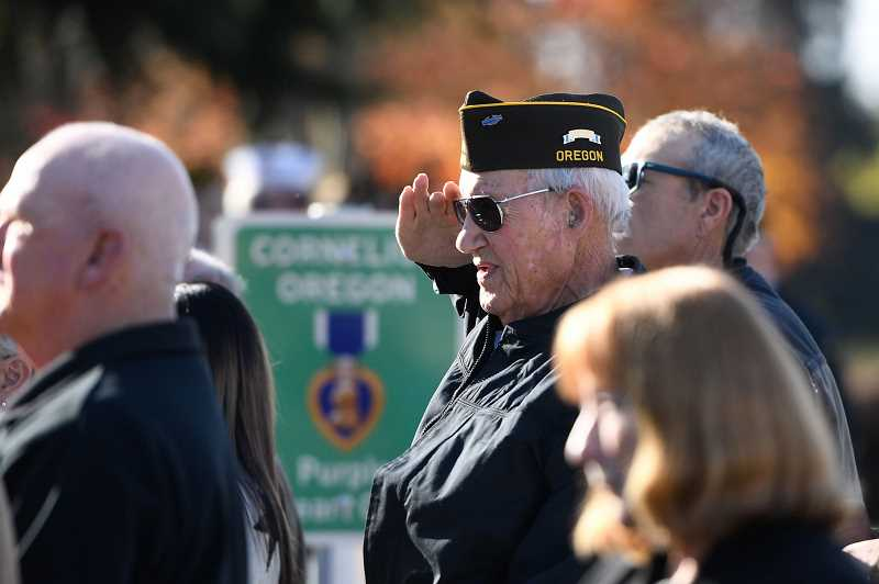 PMG FILE PHOTO - Korean War veteran salutes during a Veterans Day Ceremony at Veterans Memorial Park in Cornelius, Ore. in 2019. This year, Washington County will honor veterans with a livestream ceremony due to the coronavirus pandemic.
