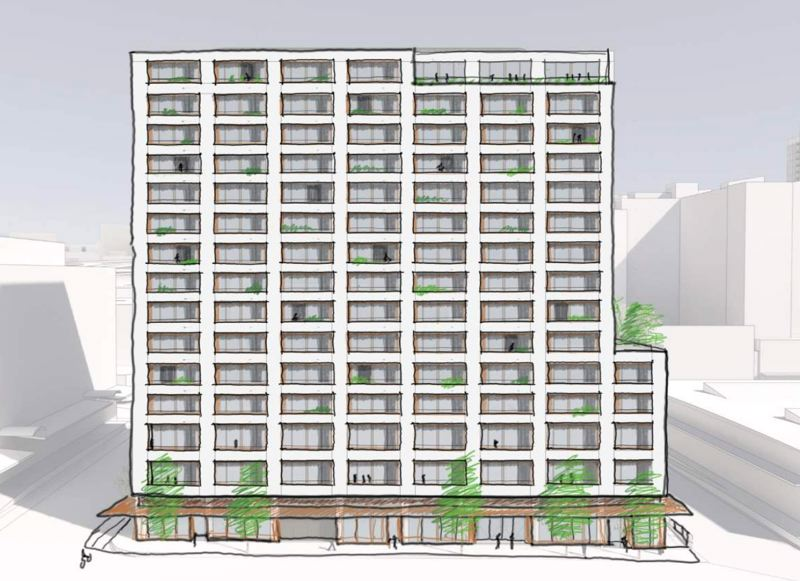 COURTESY: BORA ARCHTIECTS - The Welby as Bora Architects sees it, will take up half a block near Safeway in the Pearl District, and include market rate and affordable apartments.