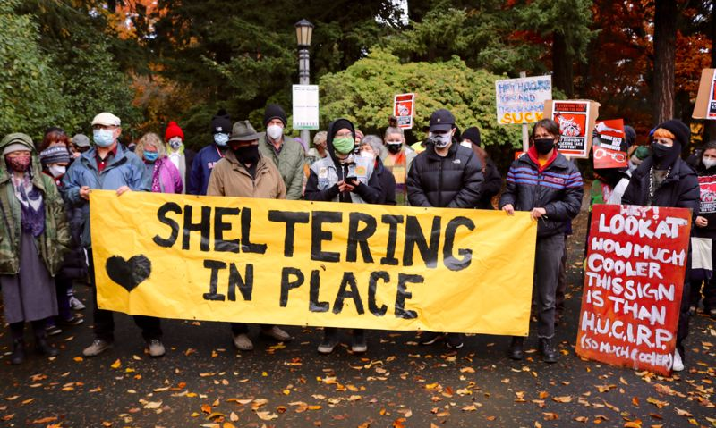 PMG PHOTO: ZANE SPARLING - Portland activists vowed to halt the planned sweep of a housless community near Laurelhurst Park during a rally on Tuesday, Nov. 10.
