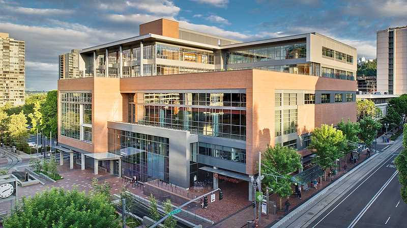 PHOTO COURTESY: PORTLAND STATE UNIVERSITY - A recreation center at Portland State University is set among an urban downtown environment. The university recently announced it will delay plans to disarm its campus police force.