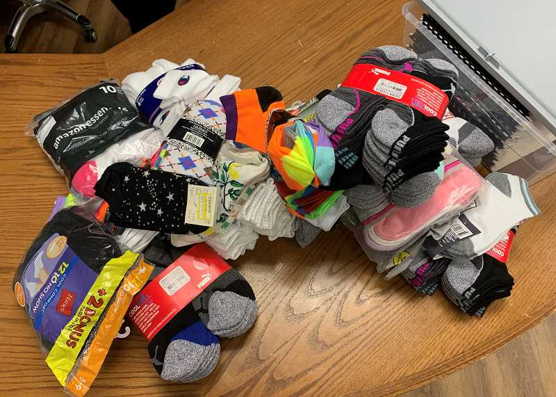COURTESY PHOTO: CAITLIN ANDERSON - While doing research for her donation project, Anderson realized socks were the number one item requested by homeless organizations and shelters.