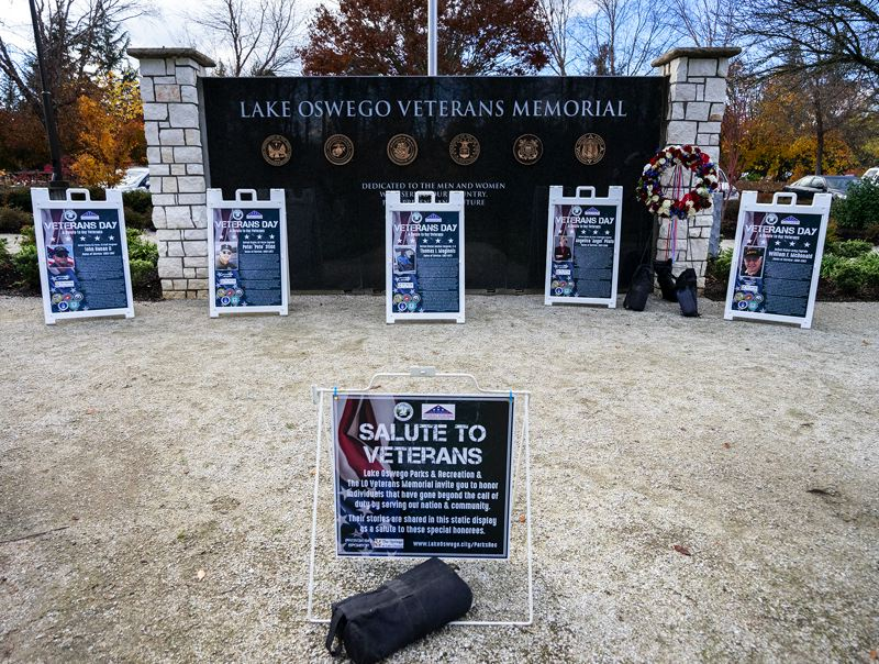 PMG PHOTO: CLARA HOWELL  - The community nominated veterans to have their stories and photographs on display at Foothills Park on Veterans Day.