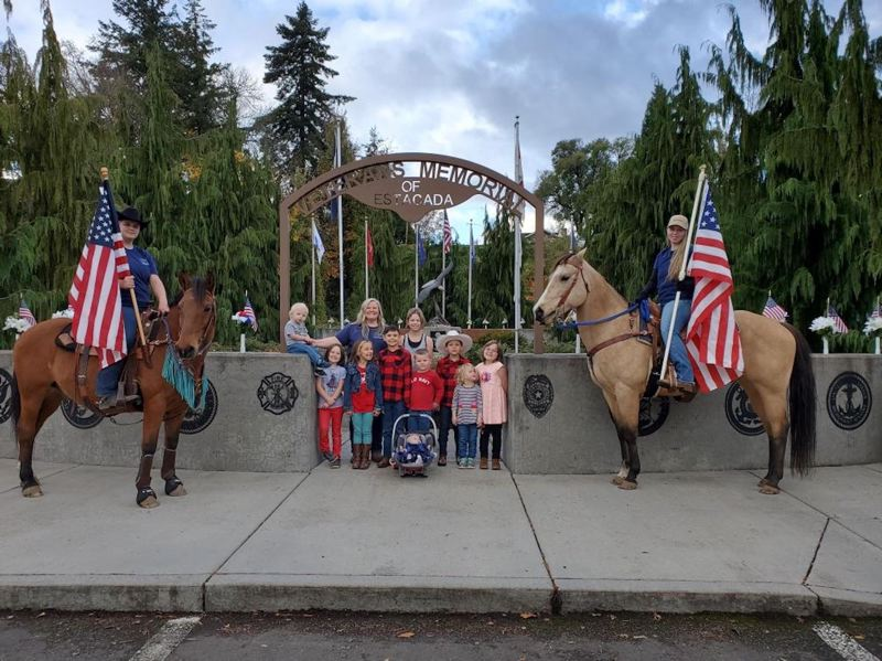 COURTESY PHOTO - Children from Lesa's Daycare learned about the Estacada Veterans Memorial on Wednesday, Nov. 11.
