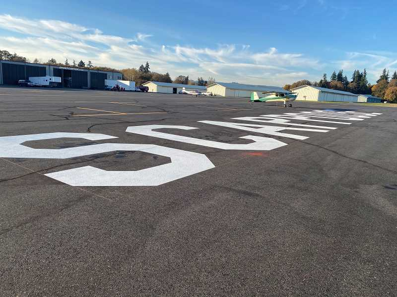 SUBMITTED PHOTO - Fresh airmarkings will make it easier for pilots to locate the Scappoose Airpark