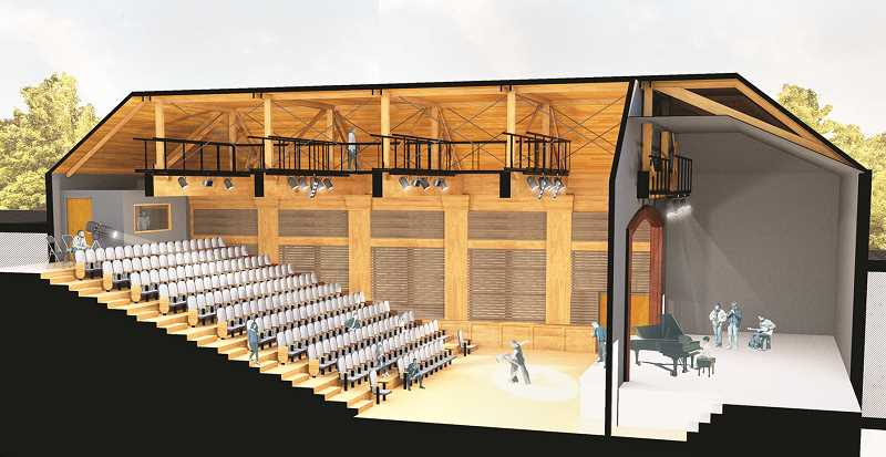 COURTESY RENDERING: CCC - A performing arts wing of the Central School building will include a mid-sized performance space named the LaJoie Theater, located in the schools' former auditorium.