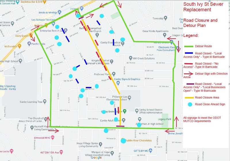 COURTESY PHOTO: CANBY PUBLIC WORKS - The Canby Public Works department recommends the pictured detour routes for drivers.