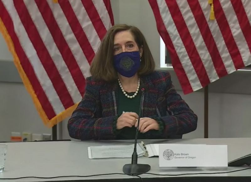 KOIN 6 NEWS - Oregon Gov. Kate Brown at a recent press conference about COVID-19.
