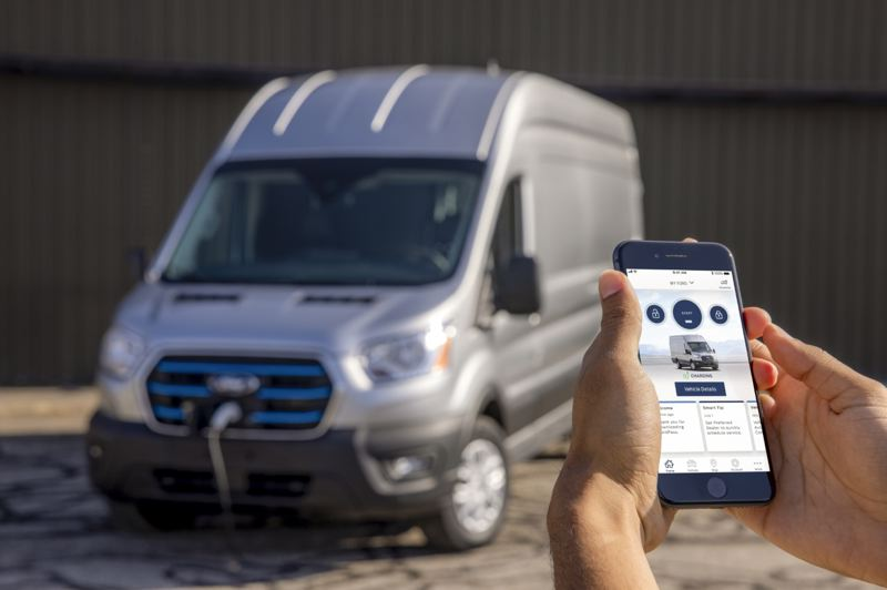 COURTESY FORD - New to E-Transit is Ford's SYNC4 connectivity system, which can help fleets manage charging transactions, telematics services and other services.