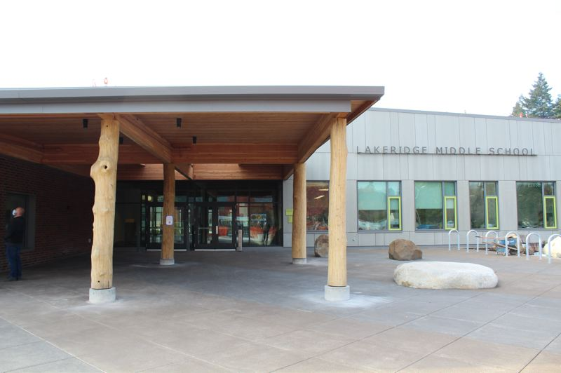 PMG PHOTO: ASIA ALVAREZ ZELLER - The view of the front of the new Lakeridge Middle School.