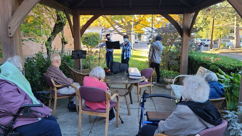 COURTESY PHOTO: IAN SONG - Three young musicians played pandemically safe concerts for elderly audiences during the warmer months. Now they'll organize online video events.