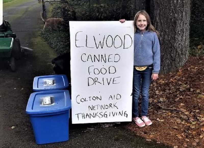 COURTESY PHOTO - Olivia Child is holding a COVID-friendly food drive to support Colton Aid Network. Donations are accepted at 22630 South Shibley Road through Thursday, Nov. 19.