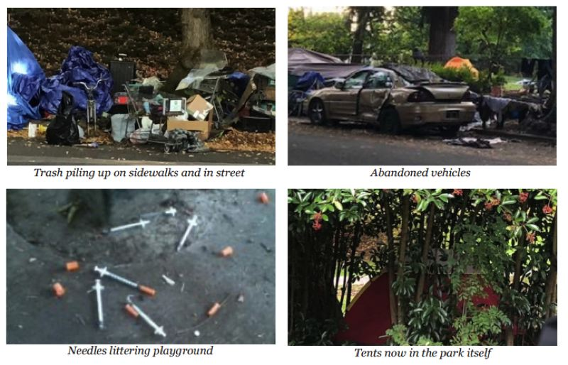 COURTESY - Photos of the camps near Laurelhurst Park were included in the most recent edition of the Laurelhurst Neighborhood Association newsletter.
