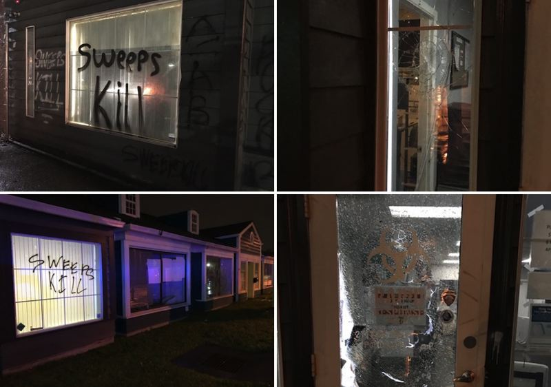 VIA PPB - Rapid Response Bio Clean was vandalized during a protest, according to the Portland Police Bureau.