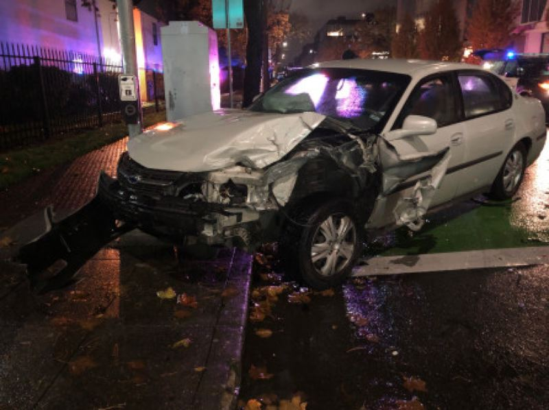 COURTESY PHOTO: PORTLAND POLICE BUREAU - The Chevy Impala that hit the police vehicle in North Portland.