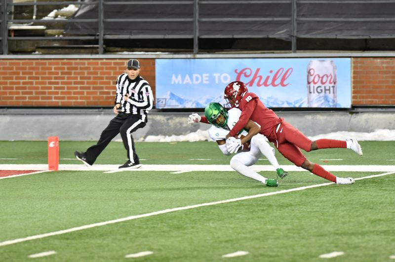 COURTESY PHOTO: BOB HUBNER/WSU PHOTOS - Jaylon Rdd hauled in this pass from Tyler Shough to set up a momentum-shifting Oregon touchdown in the final seconds of the first half on Nov. 14 at Washington State.