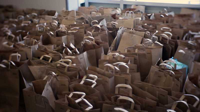 FILE PHOTO: KOIN 6 NEWS - Food baskets prepared in 2019, as part of the annual donation drive to help families in need in the Clackamas High School community.