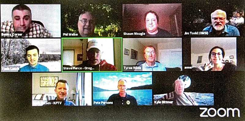 ERIC NORBERG - In the virtual What Will Winter Be Like weather prediction meeting this year, these were among the forecasters. Circled in green in the center row is the moderator, Steve Pierce of the Portland AMS Chapter and KOIN-TV; and along the bottom row, from left, are Mark Nelson of KPTV, and featured forecasters Pete Parsons and Kyle Dittmer.