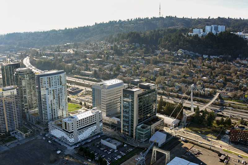 PHOTO COURTESY OF OHSU - An aerial view of OHSUs South Waterfront campus. The research university hospital is involved in an ongoing lawsuit with animal activism group PETA over research experiment records.