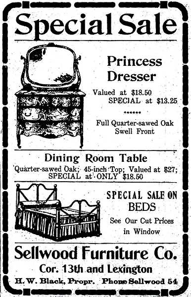 COURTESY OF SMILE HISTORY COMMITTEE - This old newspaper ad is from THE BEE in 1917. Wow! A Princess Dresser for only $13.95? Sounds today like an amazing bargain; but a century ago that was really fairly expensive.