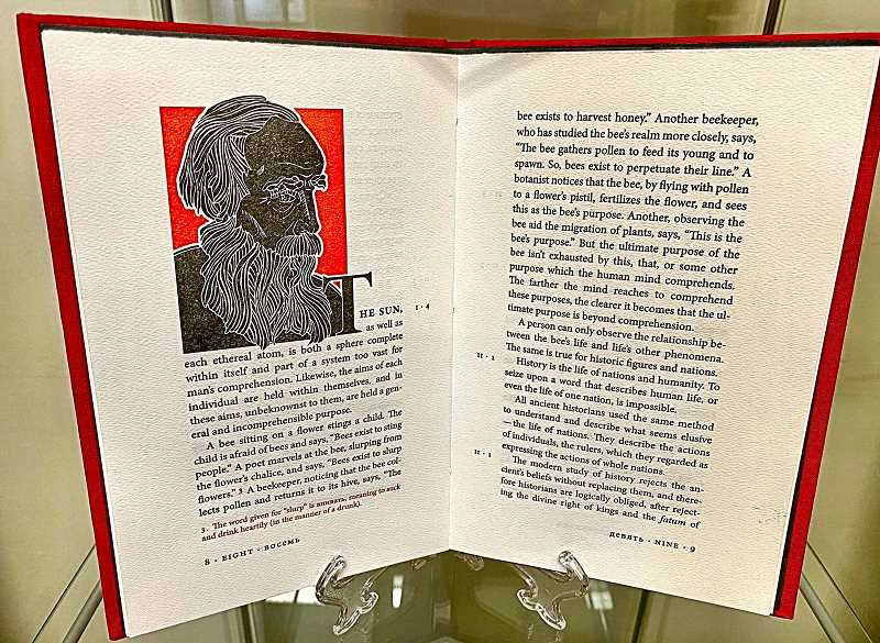 PAIGE WALLACE - A copy of No Reply Press collectible book featuring an excerpt from the epilogue of Leo Tolstoys, War and Peace. The edition features the original Russian text alongside a new translation in English.