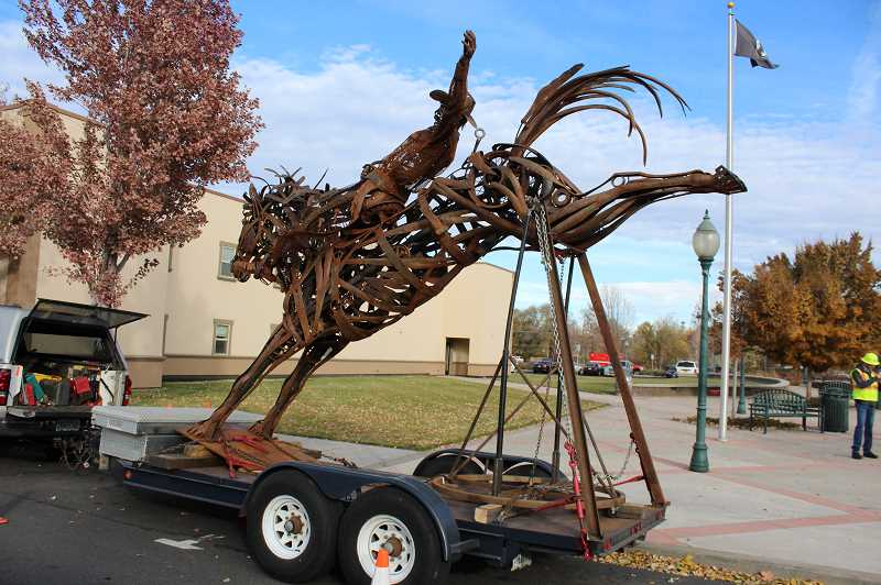 PHOTO COURTESY OF CITY OF PRINEVILLE - The War Paint sculpture was installed for temporary display at the Prineville City Hall plaza. It will be moved to the Highway 126/Tom McCall Road roundabout during the spring