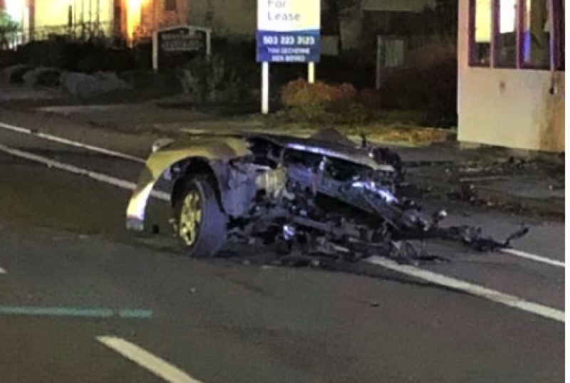 COURTESY PHOTO: PORTLAND POLICE BUREAU - This image shows part of the car that was destroyed in Northeast Portland crash on Monday.