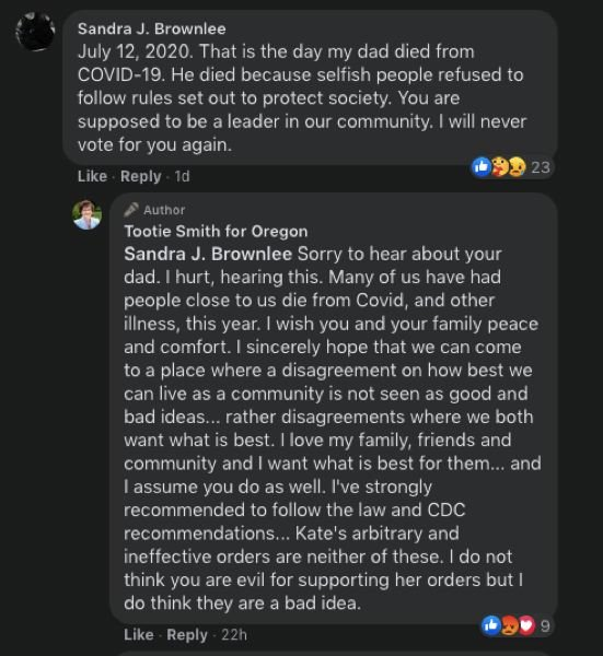 SCREENSHOT - FACEBOOK - County Chair-elect Tootie Smith engages with a commenter on her Facebook post seeimingly declaring that she will defy statewide orders to limit social gatherings on Thanksgiving.