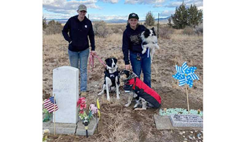 PHOTO BY REVETTA VOGT - Amanda Hartjes, left, and Kayla Vogt walked from Madras to Gray Butte Cemetery to visit Vogt's grandfather's grave. The Army veteran took his life many years ago.