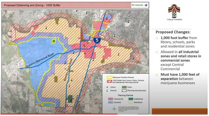 PMG FILE PHOTO - On Nov. 9, the Tualatin City Council approved allowing retail marijuana and medical marijuana sales to be sited in commercial locations of the city. Previously, those locations were limited to industrial areas of the city and this map shows the extended areas