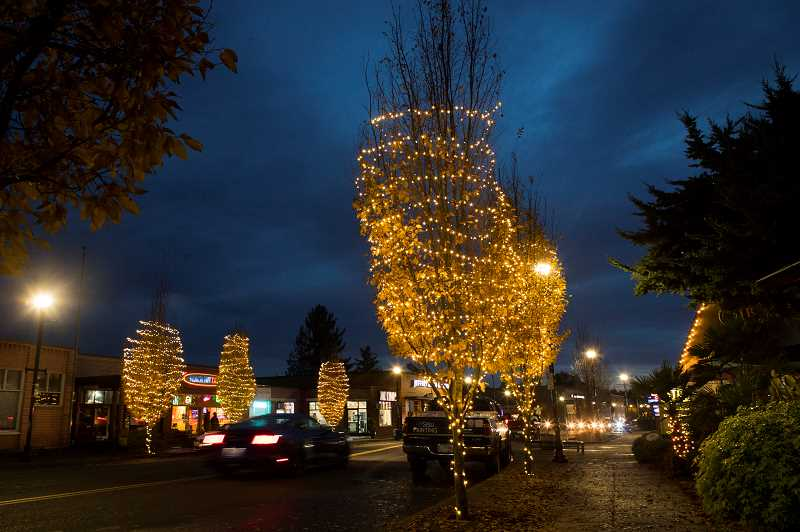PMG PHOTO: JAIME VALDEZ - A total of 13 illuminated trees, shown here, will decorate downtown Tigards Main Street beginning on Nov. 21.