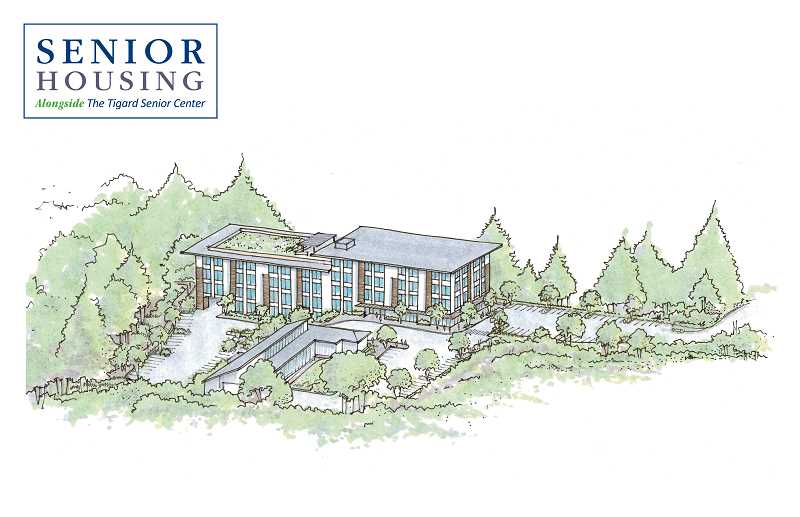 COURTESY ILLUSTRATION: CITY OF TIGARD - Plans are to build the Alongside Senior Housing project adjacent to the Tigard Senior Center on Omara Street.