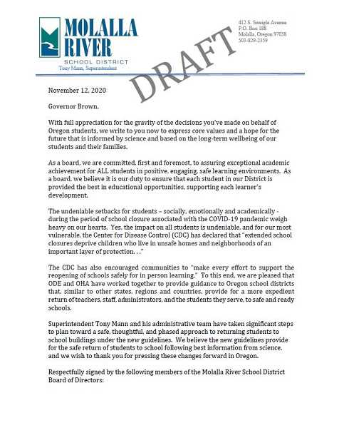 COURTESY MRSD - Pictured is the draft letter the Molalla River School District board of directors agreed to send to Oregon Gov. Kate Brown.