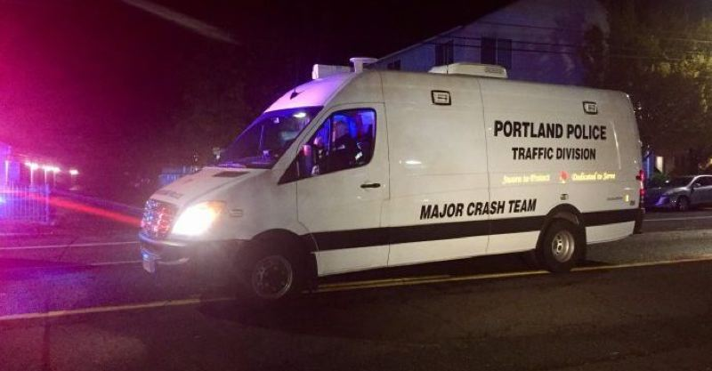 COURTESY PHOTO: KOIN 6 NEWS - The Portland Police Bureau's Major Crash Team responded to the scene of a hit-and-run in Southeast Portland on Tuesday, Nov. 17.