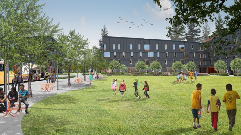 COURTESY RENDERING: WECHTER ARCHITECTURE  - Rockwood 10, which may be renamed, will provide affordable housing and a park and social services that woudld be open to non-residents.