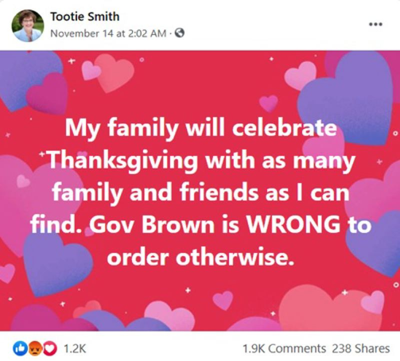 COURTESY: FACEBOOK - Clackamas County Chair-elect Tootie Smith's recent Facebook posting.
