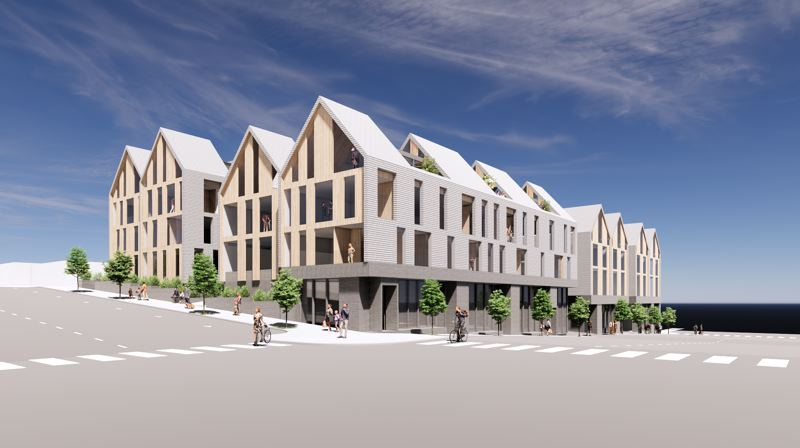 COURTESY PHOTO - A rendering of the residential and retail parcels in the North Anchor project.