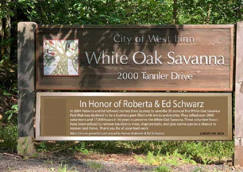 SCREENSHOT: JULY 13, 2020, WEST LINN CITY COUNCIL MEETING AGENDA - Councilor Rich Sakelik originally proposed a sign to honor Ed and Roberta Schwarz and their contributions to the White Oak Savanna.