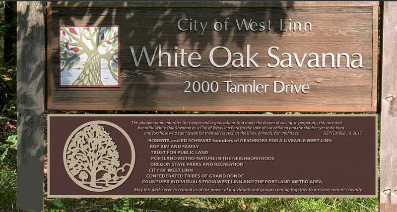 SCREENSHOT: NOV. 16, 2020 WEST LINN CITY COUNCIL MEETING AGENDA PACKET - The West Linn City Council approved the expenditure of $3,825 for this sign to be installed at the White Oak Savanna.
