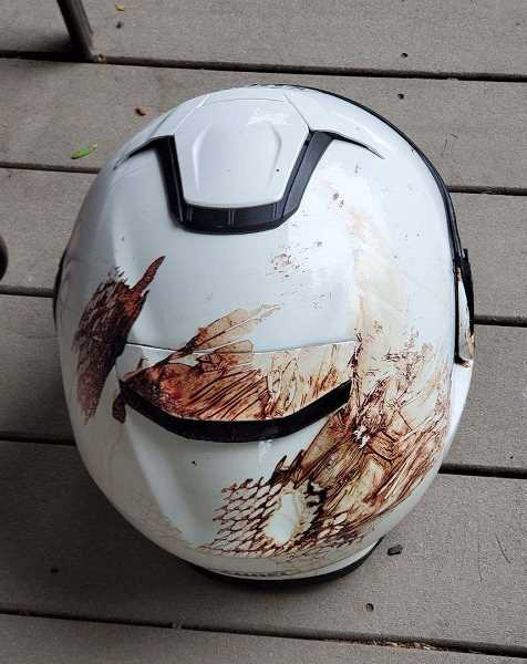 COURTESY PHOTO - Daniel Stewart's motorcycle helmet after being struck by an oncoming SUV at the intersection of Highway 47 and Maple Street July 12, 2020.