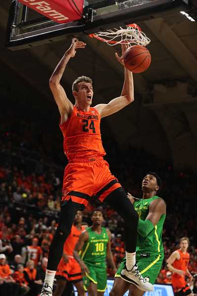 PMG FILE PHOTO - Former Oregon State University defensive specialist Kylor Kelley becomes an unrestricted free agent after going undrafted in the 2020 NBA draft held Nov. 18.