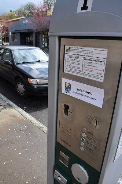 PMG PHOTO: RAYMOND RENDLEMAN - In response to COVID-19, you no longer have to plug a meter to park in downtown Oregon City, although officers still will be checking for illegal parking in disabled zones.