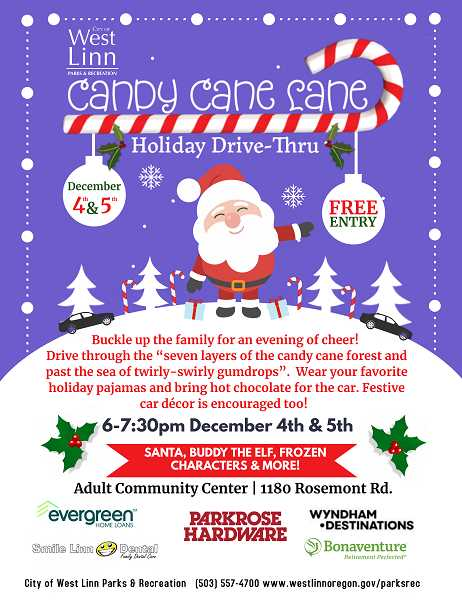 COURTESY PHOTO: CITY OF WEST LINN - The city of West Linn is hosting a Candy Cane Lane at the Adult Community Center.