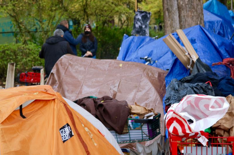 PMG PHOTO: ZANE SPARLING - Roughly 100 people lived at a homeless camp on the border of Laurelhurst Park.