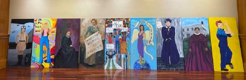 COURTESY PHOTO: TRIESTE ANDREWS - Clackamas County Heritage Council members have partnered with the Three Rivers Artist Guild to depict significant women and movements in Oregon history.