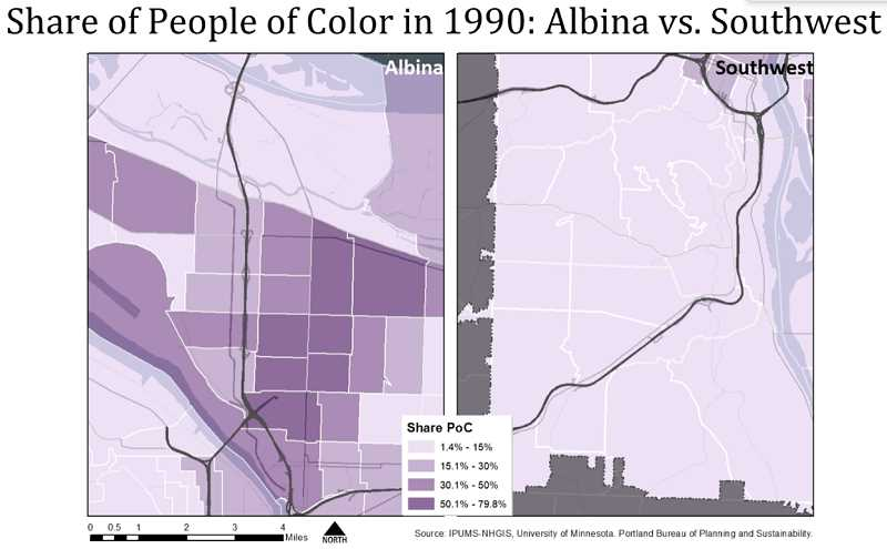 GRAPHIC: PORTLAND BUREAU OF PLANNING AND SUSTAINABILITY - A map overlay shows how few non-white residents lived in Southwest Portland in 1990.