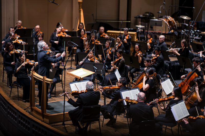COURTESY PHOTO: OREGON SYMPHONY - This is a scene we won't be seeing anytime soon: Carlos Kalmar leading the Oregon Symphony.