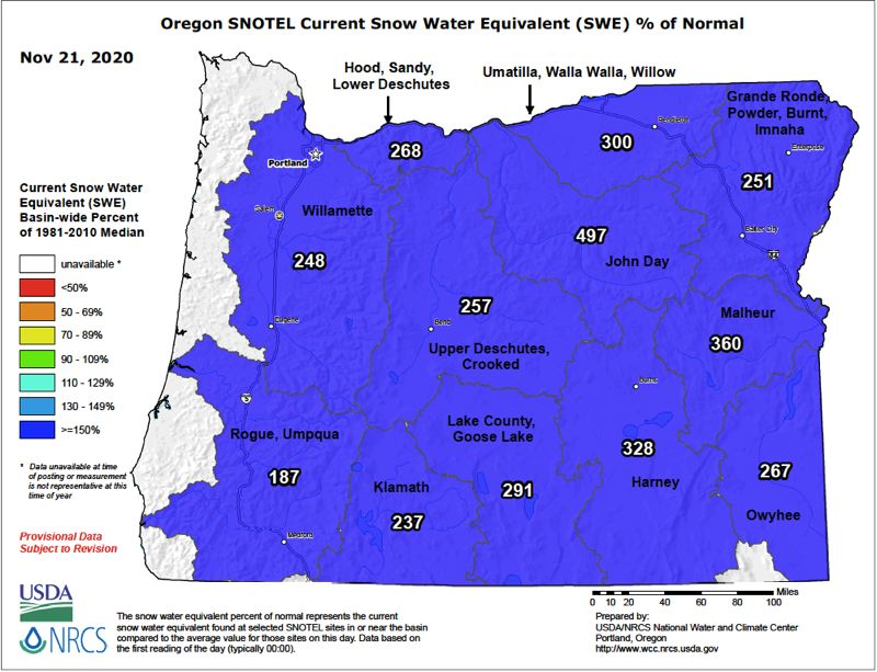 COURTESY PHOTO: OREGON SNOW SURVEY  - The current snow water equivalent is much better than usual for this time of year, giving hydrologists hope for this winter.