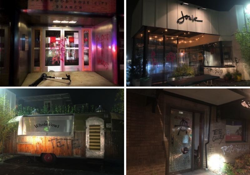Police: Organized vandals damage buildings Friday night