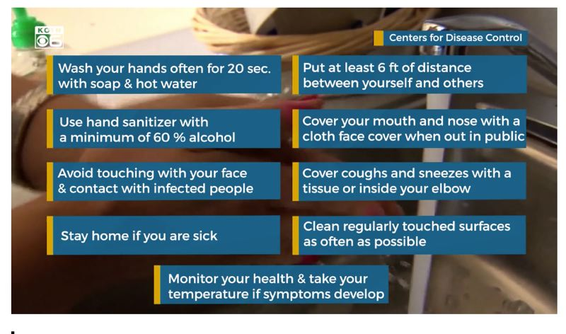 COURTESY PHOTO: KOIN 6 NEWS - Advice from the CDC to slow the spread of COVID-19.