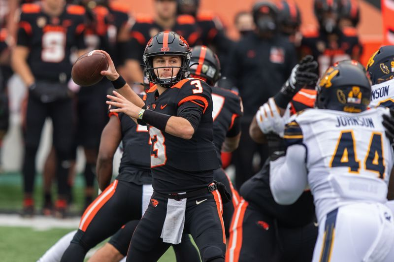 COURTESY PHOTO: KARL MAASDAM/OSU ATHLETICS - Oregon State QB Tristan Gebbia had a TD pass, run and catch in OSU's win.